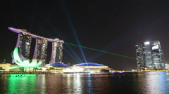 SINGAPORE - 28 October 2014 : light show at Marina Bay Sands in Singapore. Stock Footage