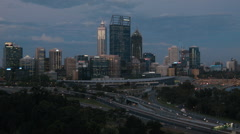 Perth City Skyline in the Light of Dusk Stock Footage