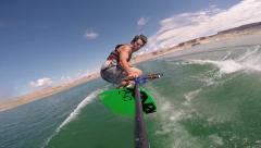 Wakeboard rope cam wake to wake jump Stock Footage