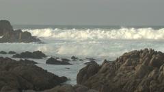 Ocean Monterey Winter Rocks Waves Surf Stock Footage