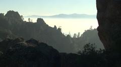 Mountain Pinnacles National Monument Winter Mist Fog Rocks Stock Footage