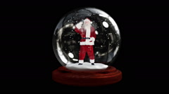 Waving santa in snow globe with alpha channel - stock footage