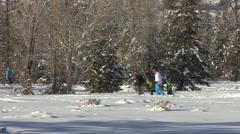Recreation Grand Teton National Park Winter Snowshoeing Snowshoe Family Stock Footage