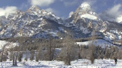 Recreation Grand Teton National Park Winter Cross Country Ski Skiing Snow - stock footage