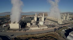 4K Natural Gas Power Plant Flying Aerial Stock Footage