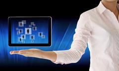 choosing the talent person for hiring in tablet-pc - stock illustration