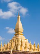 Pha That Luang Stupa in Vientiane, Laos - stock photo