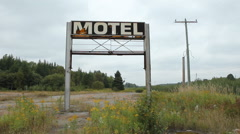 Broken Motel sign. Wide angle. Stock Footage