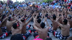 Kecak dance (Balinese ritual dance) performed in Uluwatu Temple Stock Footage