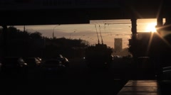 Novosibirsk city. cars go down the street. sunset Stock Footage