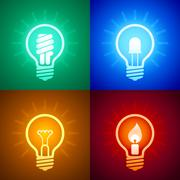 Evolution of lighting equipment Stock Illustration