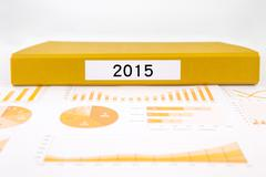 Year number 2015, graphs, charts and business annual reports Stock Photos