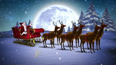 Santa waving in his sleigh with reindeer and greeting Arkistovideo