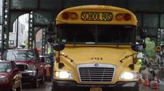 Yellow School Bus Raining Brooklyn New York City Slow Motion NYC 4K Stock Footage