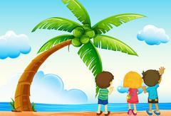 Children and beach - stock illustration