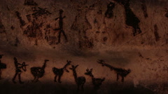 Authentique 7000 years old rock paintings from Magura cave, Bulgaria. Stock Footage