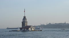 Iconic and touristic place of Istanbul Maiden Tower  Stock Footage