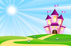 Fairy-tale palace on a green lawn Stock Illustration