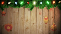 Santa carrying sack of gifts against festive wooden background Stock Footage
