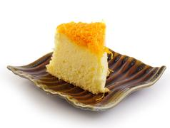 Thai dessert,foy thong cake on ceramic plate Stock Photos