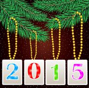 numbers 2015 hang on the branches of christmas tree - stock illustration