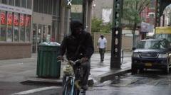 Bicyclist Raining Brooklyn New York City Slow Motion NYC 4K Stock Footage