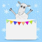 Merry sheep and greeting-card with a garland Stock Illustration