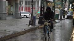 Bicyclist Yellow School Bus Raining Brooklyn New York City Slow Motion NYC 4K Stock Footage