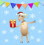 Stock Illustration of merry goat with a gift and festive garland