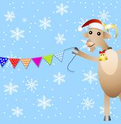 Stock Illustration of merry goat and festive garland