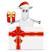 merry sheep with a gift and greeting-card - stock illustration