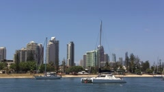 Sails boats with Surfers Paradise Skyline Queensland Australia 01 Stock Footage