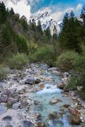 alpine torrent with a mountain in the background - stock photo