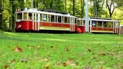Vintage tram in park (forest - trees) - grass and fallen leaves Stock Footage