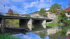 River and vintage boats in Bamberg, Germany, timelapse Stock Footage