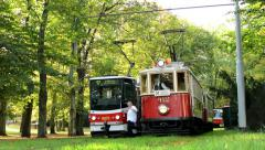 Vintage tram in station - park (trees - forest) Stock Footage