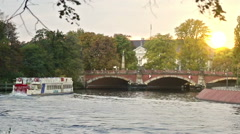 Vintage ferry with people on the german river in Berlin Stock Footage