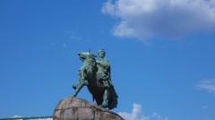 Statue of ukrainian hetman Bohdan Khmelnitsky, timelapse Stock Footage