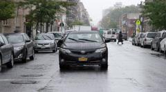 Hasidic Jew Crossing Street Jewish Neighborhood Williamsburg NYC Toyota Rain 4K Stock Footage