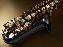High angle view of saxophone against colored background Kuvituskuvat