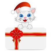 Merry kitten in a christmas cap and greeting-card Stock Illustration