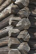 Full frame shot of log cabin Stock Photos