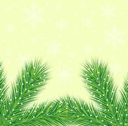 Christmas background with the sprigs of fir-tree Stock Illustration