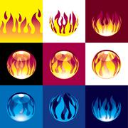 Flame set - stock illustration