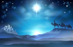 Christmas nativity star and wise men Stock Illustration