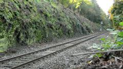 Railway line in the countryside - trees Stock Footage