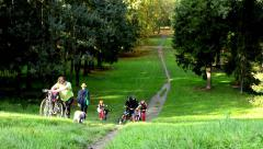 People walking and people on bikes - path - Autumn park (forest - trees) Stock Footage
