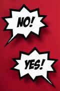 Contrasting YES & NO in speech bubbles, red background Stock Illustration