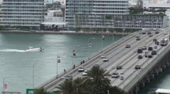 Cars on Bridge Over Water Stock Footage