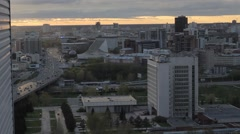 Novosibirsk city. View of the sunset from the height of the city Stock Footage